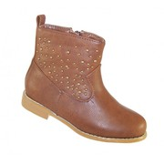 Girls tan studded western boot