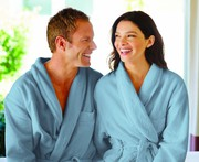 Buy Man & Woman Unisex 100 % Cotton Bathrobe - Sky Blue