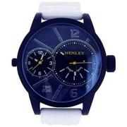 Buy Henley Dual Time Men's Quartz Watch White Silicone Strap