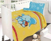 Buy Happy Elephant 250 Thread Count Cotton Satin Cot Bedding Set