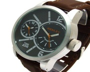 Buy Henley Men's Dual Time Silver Dial Brown Silicone Strap Watch