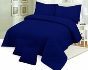 Egyptian Navy Cotton Multi Quilted Plain Bedspread,  With 2 Pillowshams