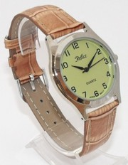 Gents New Reflex Watch Chrome Case L Green Dial Brown Strap 101155GT