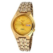 Seiko5 Automatic Men's Gold Plated Bracelet day/date Watch Gold Dial S