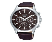 Buy Pulsar Men Chronograph Brown Leather Strap Watch