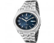 Seiko 5 Men Silver Stainless Steel Automatic Watch Blue Dial