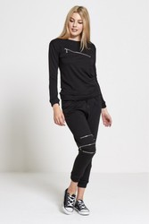 Black Lounge Wear Tracksuit