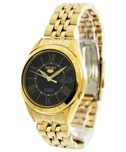 Seiko Men's Gold Tone Stainless-Steel Automatic Watch with Black Dial
