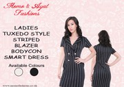 LADIES BLACK TUXEDO STYLE STRIPED BLAZER BODYCON SMART DRESS