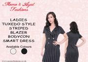 LADIES BLACK TUXEDO STYLE STRIPED BLAZER BODYCON SMART DRESS