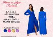 LADIES ROYAL BLUE STUNNING FRILL WRAP FRILL MAXI DRESS UK