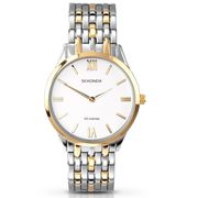 Sekonda Classic White Dial Two Tone Stainless Steel Bracelet Gents Wat