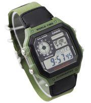 Casio Men's AE-1200WHB-3BVDF Black Nylon Strap World Time Quartz Digit