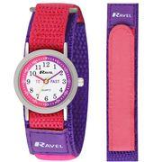 Ravel Time teacher Children's Quartz Watch White Dial Velcro Nylon Str