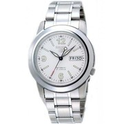 Seiko 5 Men Silver Stainless Steel Automatic Watch White Dial SNKE57K1