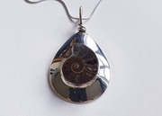 Silver Set Fossil Ammonite Slice Necklace £35.00