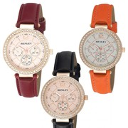 Henley Ladies Fashion rose gold dial Leather Strap Watch H06105