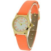 Reflex White Round Dial,  Gold Case Watch with Orange Pu Strap 101326lt