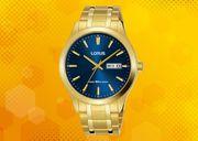 Lorus Men's Analogue Gilt Bracelet Watch Blue Face RXN62DX9