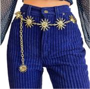 Women's Moon Sun Shaped Chain Waist Belt Long Tie Bandage Belts Waistb